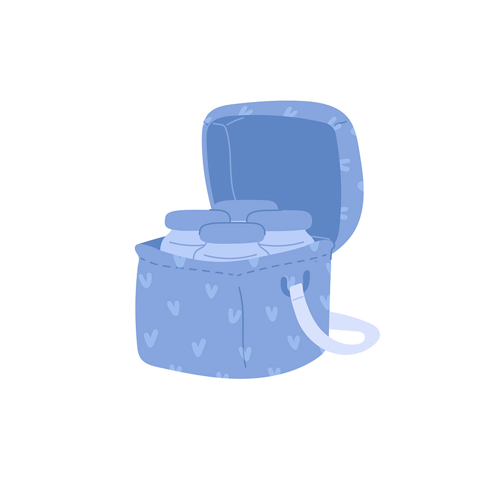 Cooler bag for baby milk bottles isolate icon