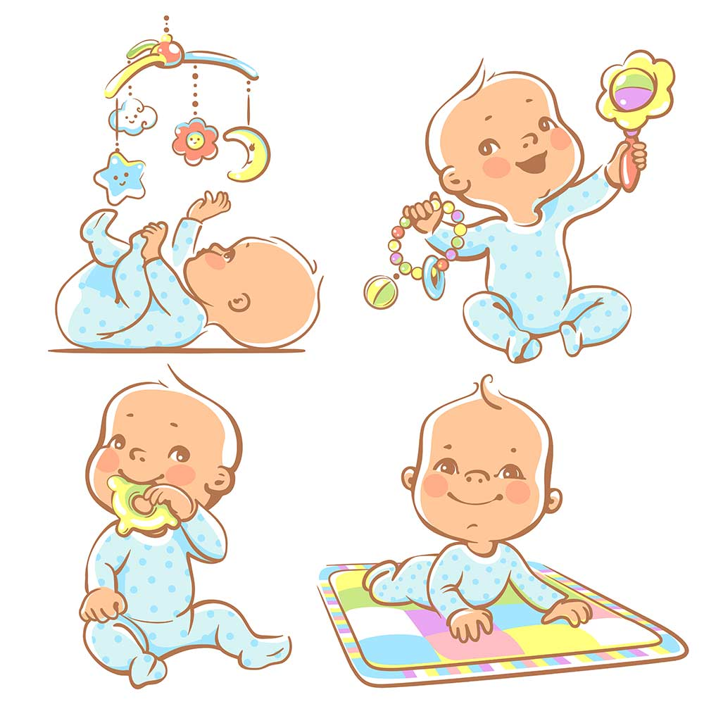 set of a baby playing toys