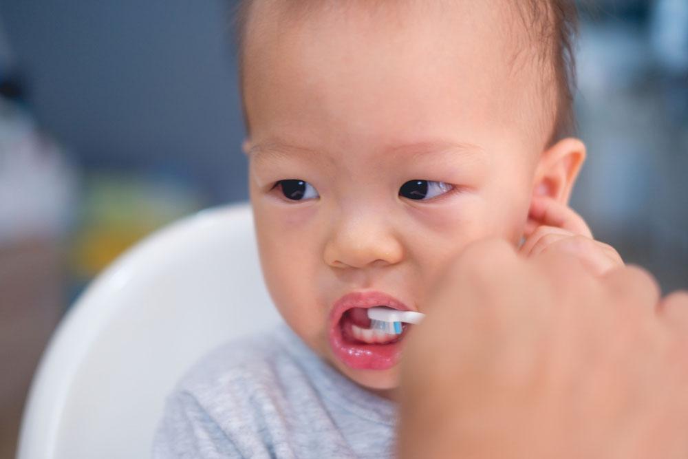 Baby Having Teeth Brushed