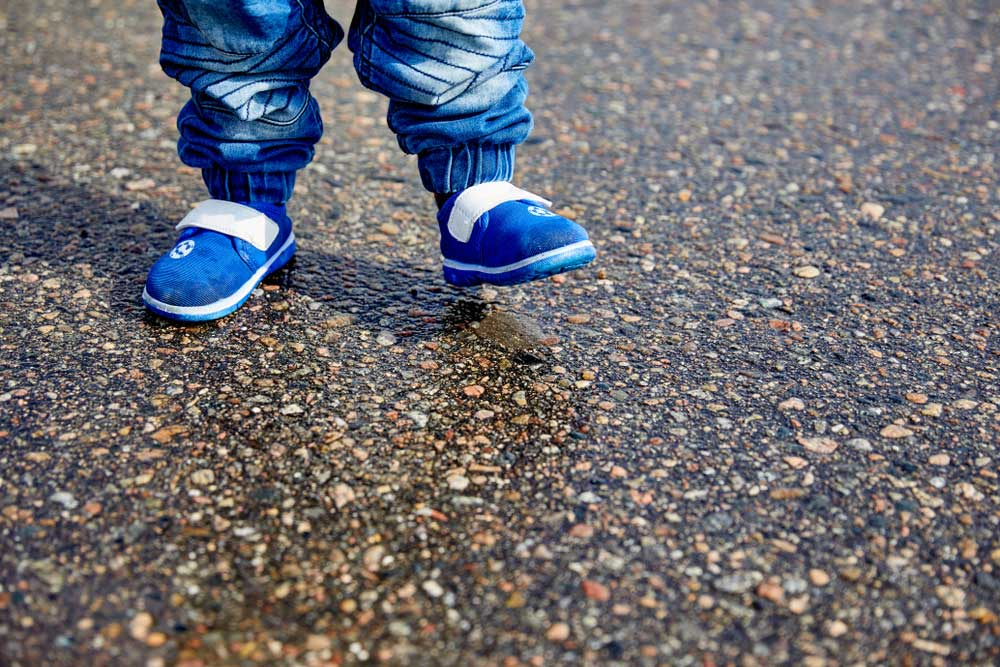a baby in comfortable shoes