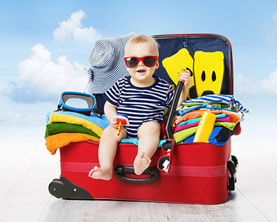 baby in travel suitcase, travel with a baby